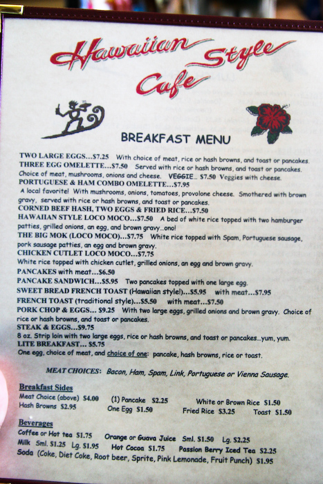 Cafe  Menu Hilo Hawaii